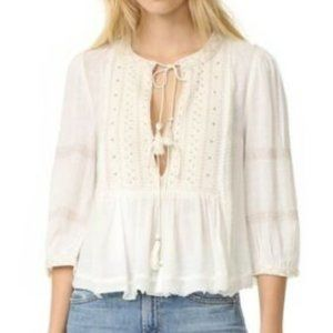FREE PEOPLE Wild Life Embroidered Blouse Ivory - M